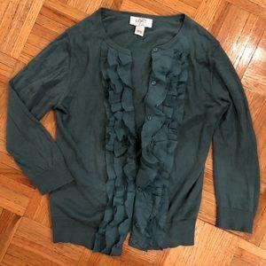 Teal ruffle cardigan